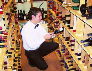 Mike Laceby Sommelier in the wine cellar